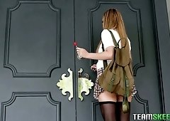 Chestnut haired leggy babe is made for some proper daily analfuck