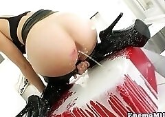 Horny solo milk enema chick toys herself