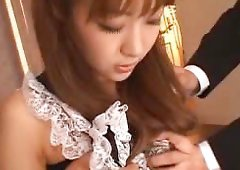 Cute babe gives an amazing Asian blowjob to her boyfriend