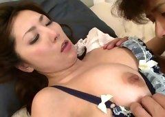 Whorish Japanese sweetie Mirei Yokoyama is seduced for sex