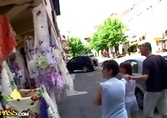 Horny cutie has real sex while in a public street