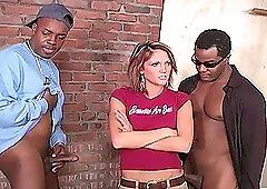 Horny black guys talk Spring Thomas into riding their big cocks