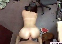 Hot big ass Alexis Deen gives hunks big cock a blowjob