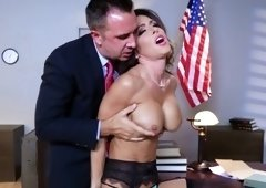 Judge Jessica Jaymes taking dick between her tits & pussy lips at work