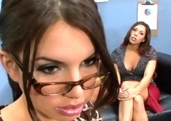 Secretary & assistant threesome with the boss in the office
