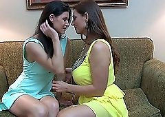 Mature lesbian babes India Summer and Mindi Mink play with toys