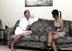 Lovely slender tight Asian masseuse Jam rides cock during massage