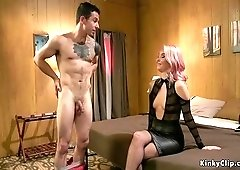 Guy with chastity deep anal fucked femdom