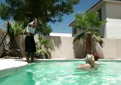 The pool boy love his PAWGs