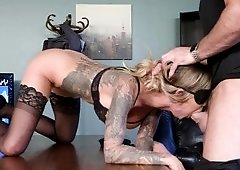 Submissive corporate babe fucked by her dom after work