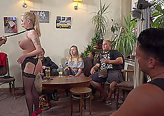 Isabella Clark fucked on a leash held by Cherry Kiss