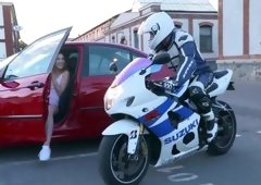 Stunning biker's girlfriend Alexis Crystal enjoys a fat dick after the ride