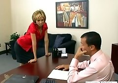 New assistant Jenny Hendrix takes boss's dick deep in her anal hole