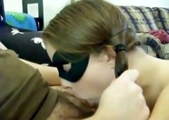My nasty girlfriend in mask shows deepthroat master class