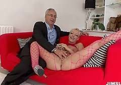 Brooke Jameson wearing pantyhoes fools around with an older man
