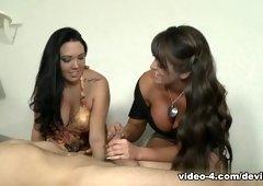 Best pornstars Megan Foxx, Alura Jenson in Incredible Blowjob, Threesomes xxx clip