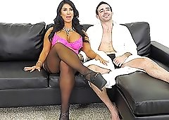 Big tit MILF in stockings needs to take a cock a bit deeper