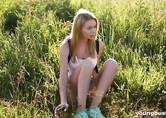 Adorable and sexy blonde tourist girl seduced and fucked outdoors