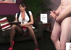 Huge-Chested British loves providing Jerk Off Instructions in her office - PornGem