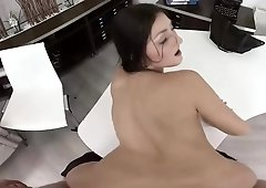 Hot brunette secretary Katy Rose rough blowjob finishes with sex right on her table