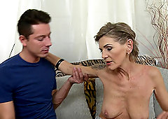 Skinny mature tattooed blonde Irenka S. gets her pussy pounded hard