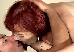 Fit stud bury his cock in gradma's soft pussy and rock her world