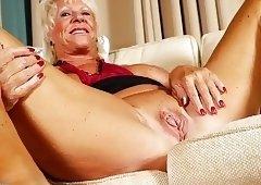 Old kinky grandma fingering her old cunt