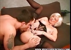 My Sexy Piercings Granny with pierced pussy and toys