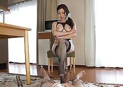 Brunette Shiraki Yuuko enjoys jerking a dick with her feet