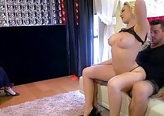Blonde stripper slut is ready to take a huge dick in her butt hole