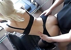 Naughty Blonde Lady in White Stockings Gives Head to BBC