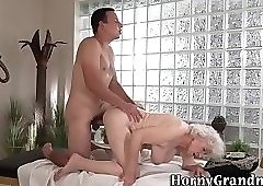 Old granny takes cock