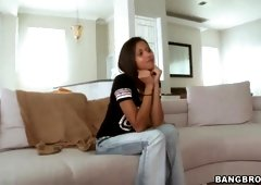 Mia Lina demonstrates small boobs and gets fingered