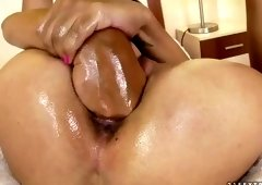 Beautiful brunette youthful harlot performing in incredible masturantion
