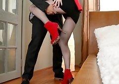 Misha Cross loves teasing her lover with her nice fishnet stockings