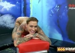 Inked fake tit piss freak gets fiercely gangbanged
