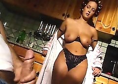 Housewife in her kitchen lets him fuck her pussy
