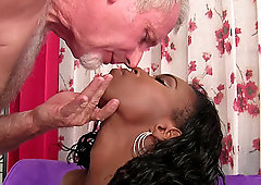 Ebony chick Shyra Foxx gets to taste an older man's white cock