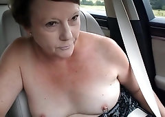 Exhibitionist MILF's Topless Car Dare