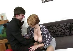 Hot mature mother takes huge young cock