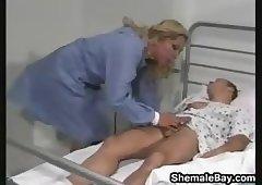 Crossdressing nurse masturbation