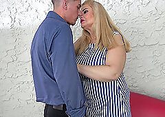 Long haired mature blonde BBW Musa Libertina blows and rides hard cock