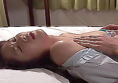 Japanese brunette plays with her tits and pussy before a fuck