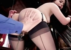 Babe with a ball gag in her mouth Harley Jade is fucked by one furious dude