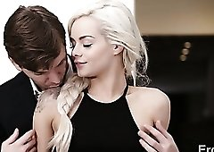 Talkative titless blondie Elsa Jean spends time by sucking her BF dry