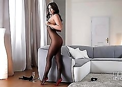 Leggy Natalia Forrest in gorgeous black pantyhose