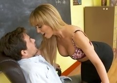 Frisky blonde teacher seduced her student