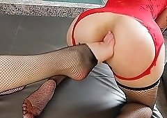Hotties in matching lingerie have lesbian anal dildo sex