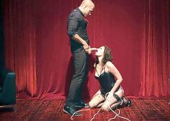 Obedient tied-up colleen Jessica Rex is under control of Xander Corvus