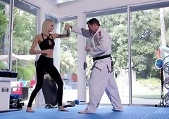 Slim babe hard fucked by karate trainer with his huge dick